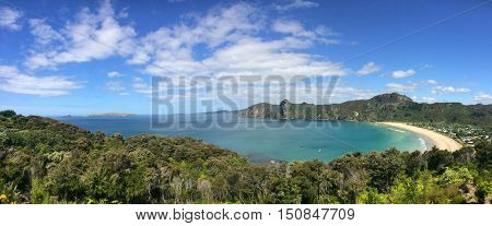 Panoramic Aerial View Of Taupo Bay In Northland, New Zealand