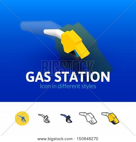 Gas station color icon, vector symbol in flat, outline and isometric style isolated on blur background