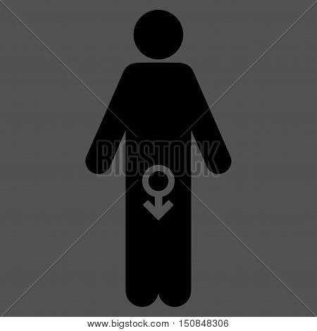 Male Impotence vector icon. Style is flat symbol black color rounded angles gray background.