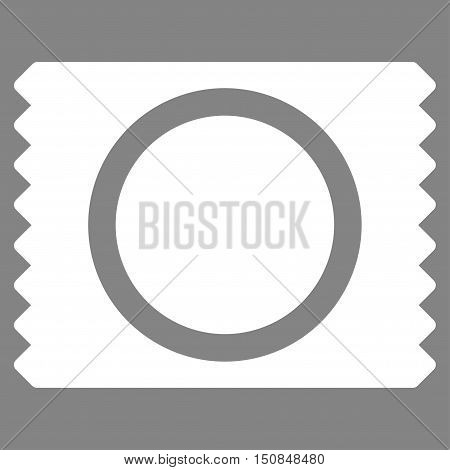 Condom Pack vector icon. Style is flat symbol white color rounded angles gray background.