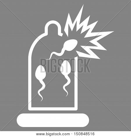 Damaged Condom With Sperm vector icon. Style is flat symbol white color rounded angles gray background.