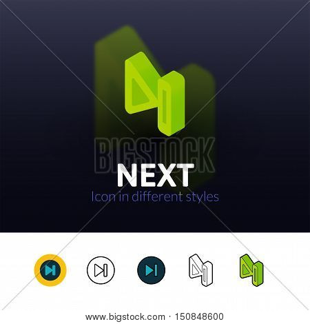 Next color icon, vector symbol in flat, outline and isometric style isolated on blur background