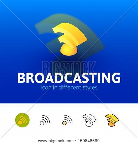 Broadcasting color icon, vector symbol in flat, outline and isometric style isolated on blur background