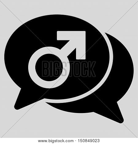 Male Chat vector icon. Style is flat symbol black color rounded angles light gray background.