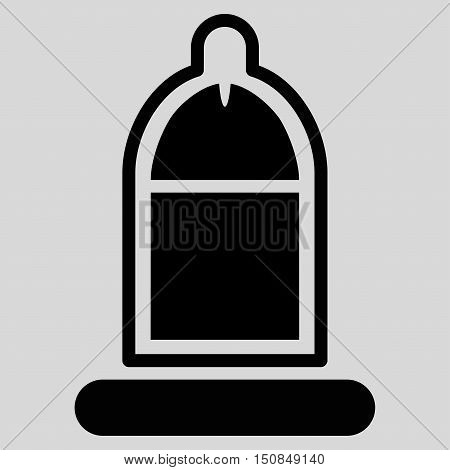 Protected Penis With Condom vector icon. Style is flat symbol black color rounded angles light gray background.
