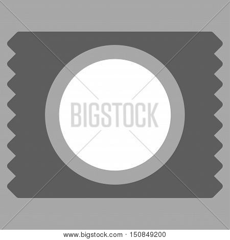 Condom Pack vector icon. Style is bicolor flat symbol dark gray and white colors rounded angles silver background.