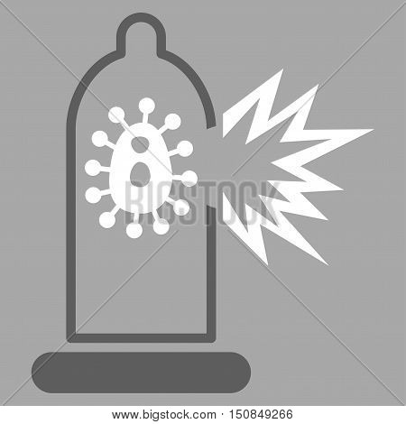 Damaged Condom With Virus vector icon. Style is bicolor flat symbol dark gray and white colors rounded angles silver background.