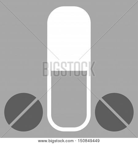 Male Medication vector icon. Style is bicolor flat symbol dark gray and white colors rounded angles silver background.