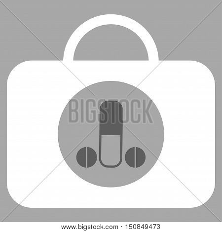 Male Sexual Toolbox vector icon. Style is bicolor flat symbol dark gray and white colors rounded angles silver background.