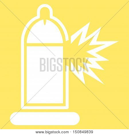 Damaged Condom With Penis vector icon. Style is flat symbol, white color, rounded angles, yellow background.