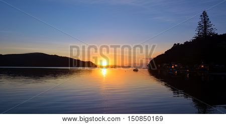 Sunrise Landscape Over  Sandspit Beach New Zealand