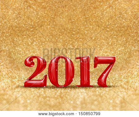 Happy New Year 2017 (3D Rendering) Red Color At Golden Sparkling Glitter Room Background,new Year An