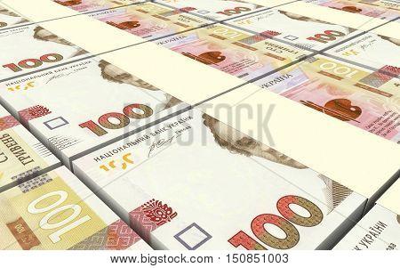 Ukrainian hryvnia bills stacks background. 3D illustration.