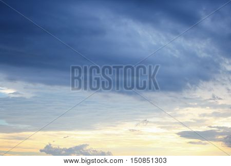 blue sky and formation raincloud dark motion have shape beautiful colourful in evening nature for background