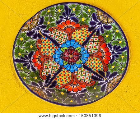 Colorful Ceramic Mexican Plate Yellow Wal Guanajuato Mexico