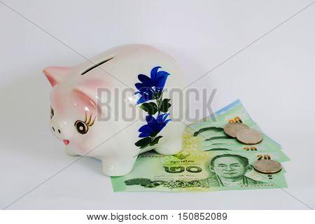 Piggy bank. Savings, Insert coin into piggy bank, Financial