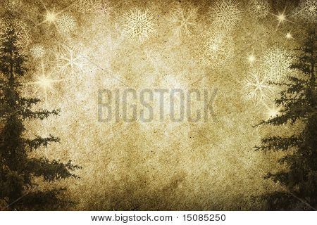 christmas vintage background with snowflakes on old paper
