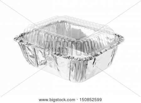 Rectangular Aluminium Foil Tray Clear Cover isolated on white background