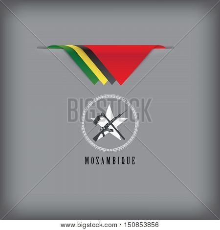 Banner Mozambique with the national symbols flag.
