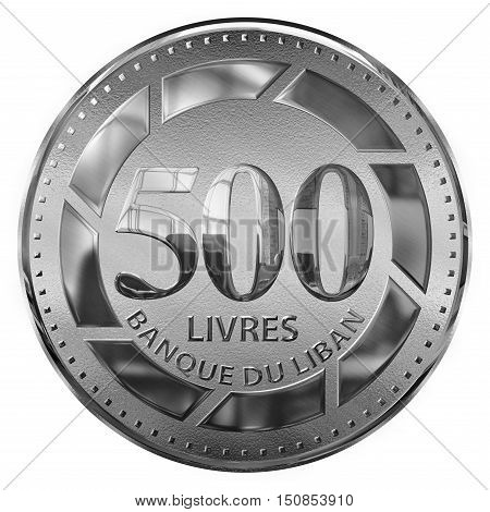 Isolated 3d Render Of A Five Hundred Pounds Silver Illustrated Coin Lebanon