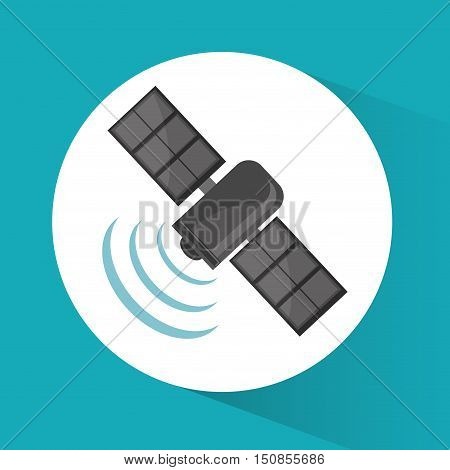Satellite icon. Global communication internet and technology theme. Colorful design. Vector illustration
