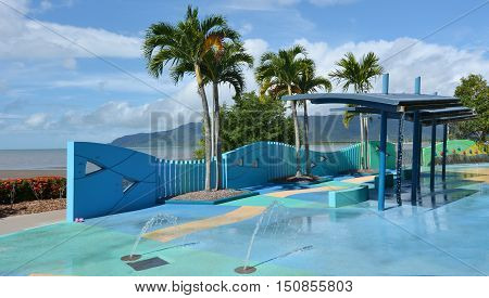 Outdoor Public Water Park At Cairns Esplanade In Queensland Australia