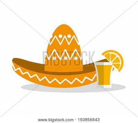 Hat and tequila shot icon. Mexico mexican culture landmark and latin theme. Colorful design. Vector illustration