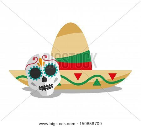 Hat and skull icon. Mexico mexican culture landmark and latin theme. Colorful design. Vector illustration