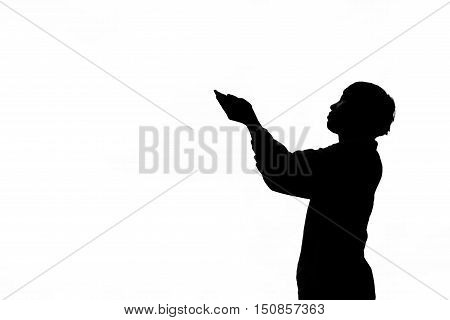 Silhouette man praying god on white background concept