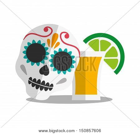 Tequila shote icon. Mexico mexican culture landmark and latin theme. Colorful design. Vector illustration