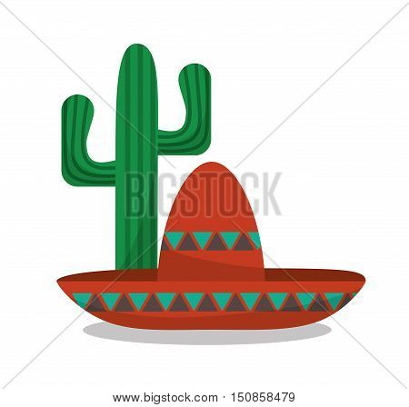 Hat and cactus icon. Mexico mexican culture landmark and latin theme. Colorful design. Vector illustration