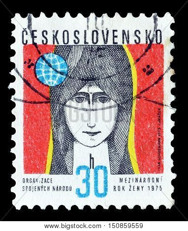 CZECHOSLOVAKIA - CIRCA 1975 : Cancelled postage stamp printed by Czechoslovakia, that shows Woman.