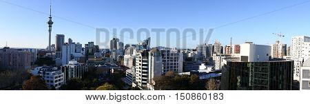 Panoramic view of Auckland CBD skyline new zealand.