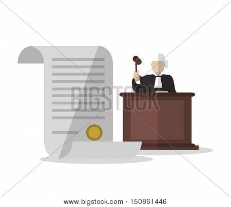 Document and judge icon. Law justice and legal theme. Colorful design. Vector illustration