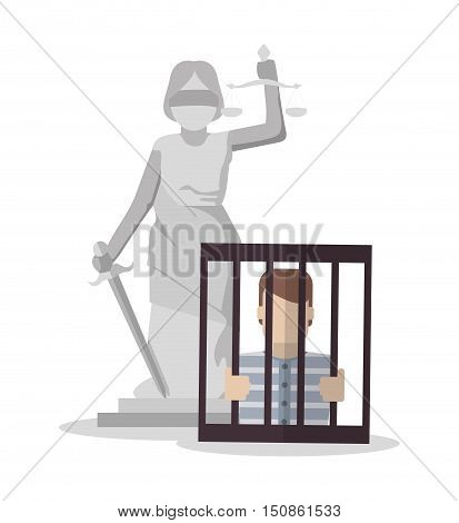 Monument and jail icon. Law justice and legal theme. Colorful design. Vector illustration