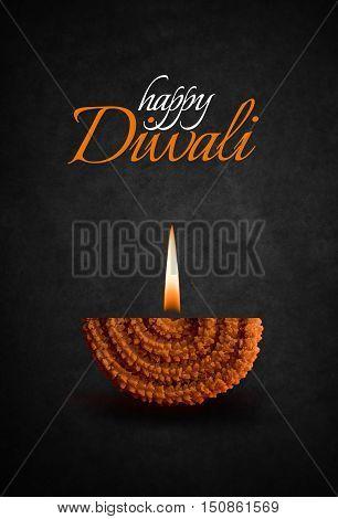 happy diwali or happy deepawali greeting card made by showing diya made up of  maharashtrian famous recipe called chakali with diya flame, season's greetings