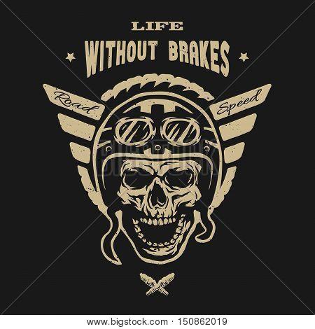 Racer skull in helmet vintage style. Emblem t-shirt desig for a dark background.