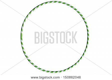 The hula Hoop green with silver isolated on white background. Gymnastics, fitness, diet. Versatile exerciser for sports , fitness and ballet.
