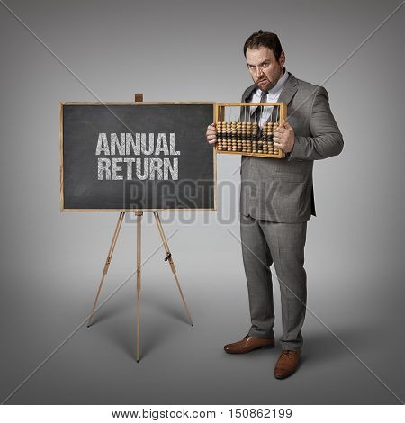 Annual return text on blackboard with businessman and abacus