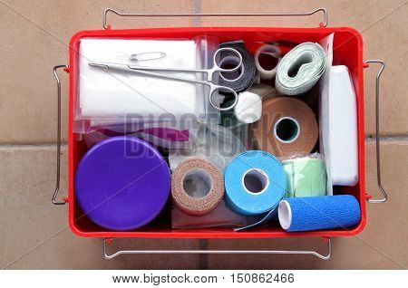 Flat Lay View Of First Aid Kit