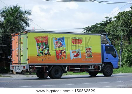 CHIANGMAI THAILAND - OCTOBER 2 2016: Container truck of Thai Preserved Food Factory Company Limited. Photo at road no.121 about 8 km from downtown Chiangmai thailand.