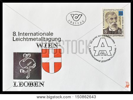 AUSTRIA - CIRCA 1987 : First day cover letter printed by Austria, that shows portrait of Dr Carl Josef Bayer.