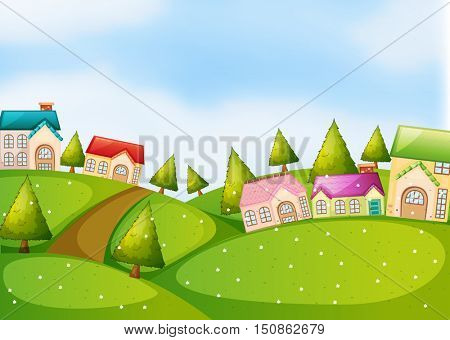 Countryside scene with houses on the hills illustration