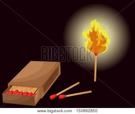 Matchbox and lighted match illustration