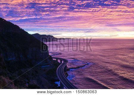 Sea Cliff Bridge On Sunrise  In Purple And Pink Light