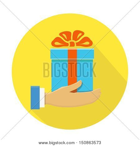 Isolated round flat icon of a hand holding a blue gift box on yellow