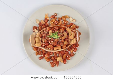 Spicy textured soy protein curry topped sliced ,kaffir lime leaves is food for Vegetable festival of Chinese  as