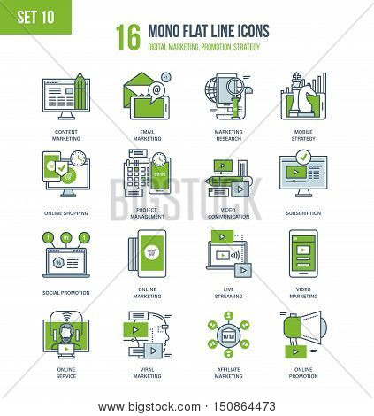 Color Flat Line icons set of marketing, types of marketing and marketing research, online services and internet promotion, project management and strategy, video and broadcasting. Editable Stroke.