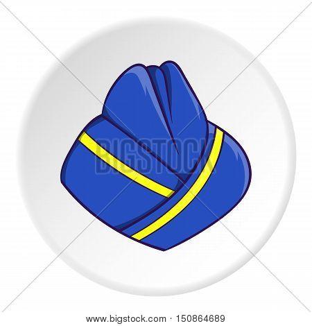 Hat stewardess icon in cartoon style isolated on white circle background. Headdress symbol vector illustration