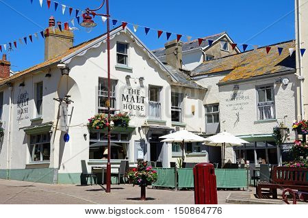 SEATON, UNITED KINGDOM - JULY 18, 2016 -Malt House Pub in The Square Seaton Devon England UK Western Europe, July 18, 2016.
